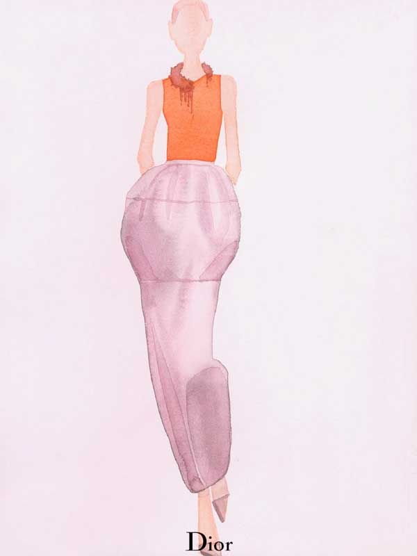 Dior's Spring Collection as Watercolours by Mats Gustafson